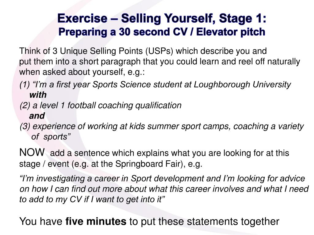 Exercise – Selling Yourself, Stage 1: