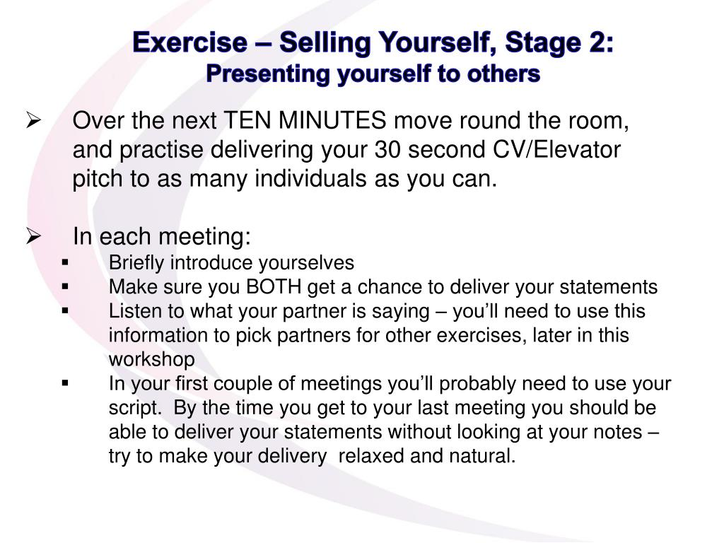 Exercise – Selling Yourself, Stage 2: