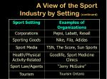 a view of the sport industry by setting continued10