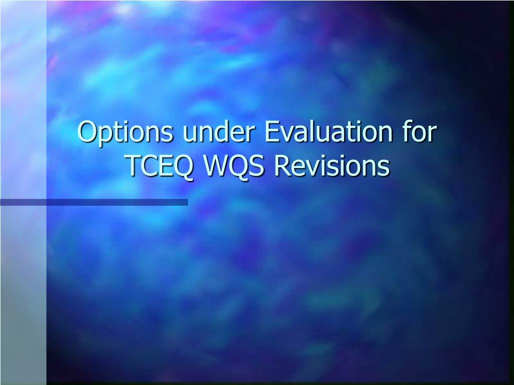 Options under Evaluation for TCEQ WQS Revisions