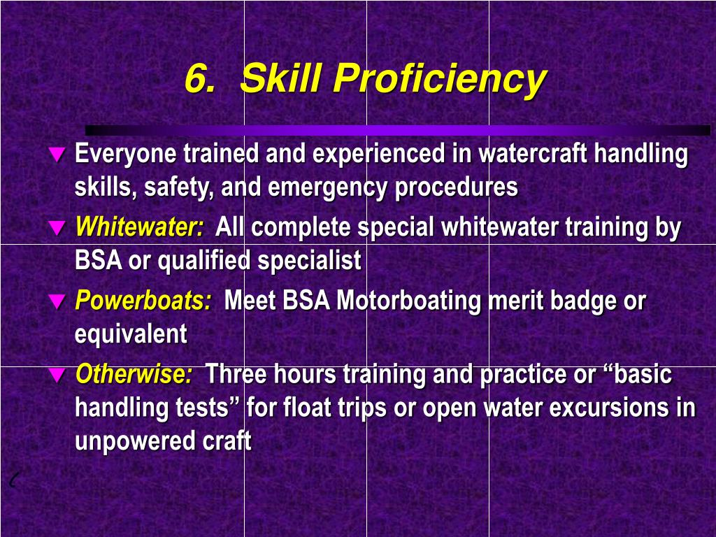 6.  Skill Proficiency
