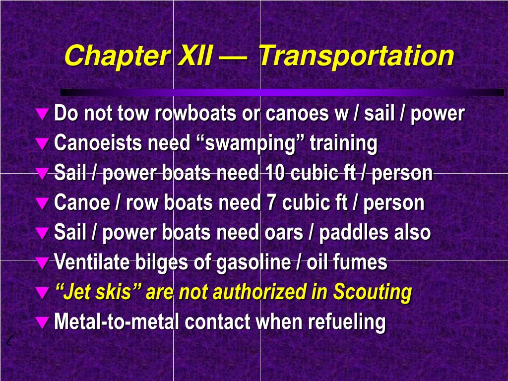 Chapter XII — Transportation