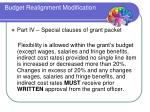 budget realignment modification