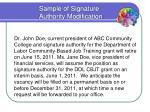 sample of signature authority modification