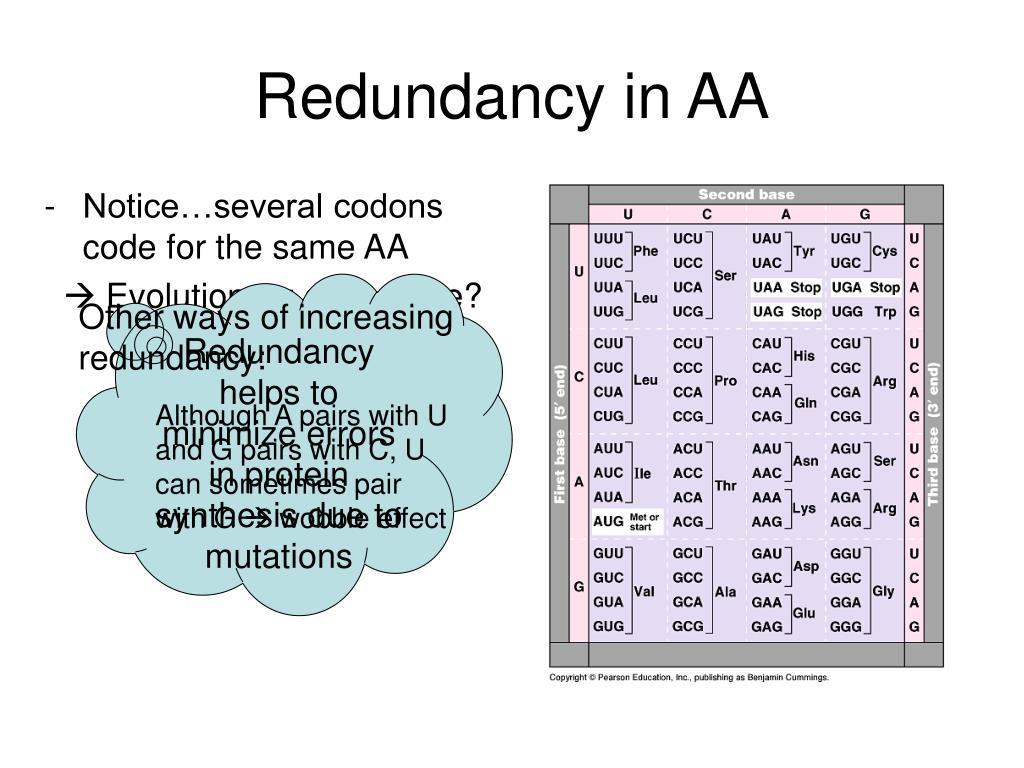 Redundancy in AA