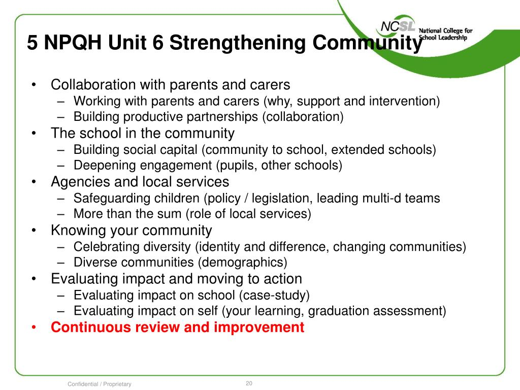 5 NPQH Unit 6 Strengthening Community