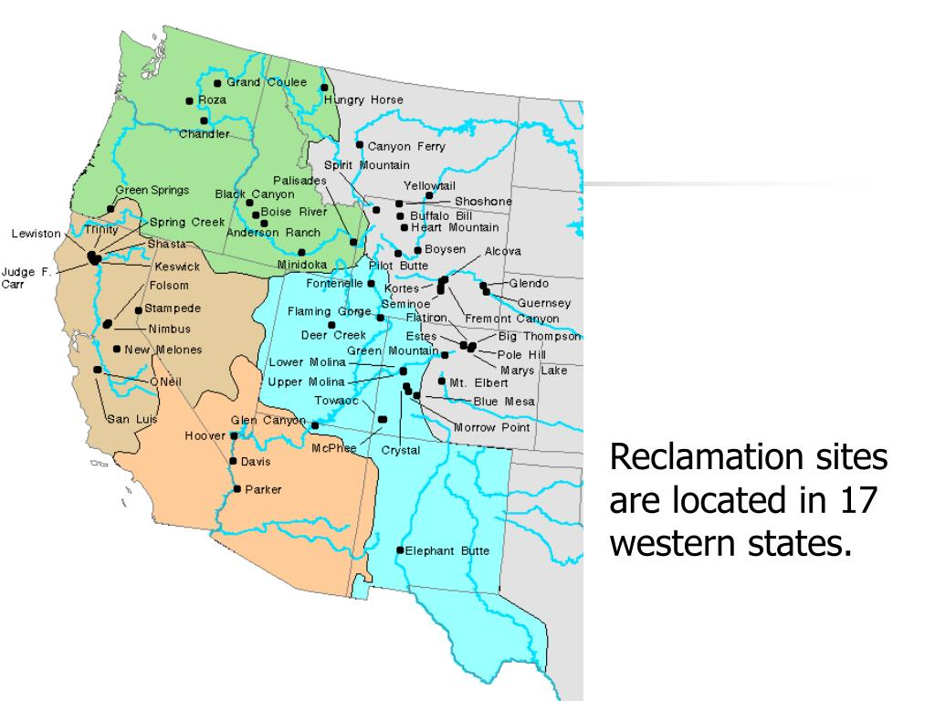 Reclamation sites are located in 17 western states.
