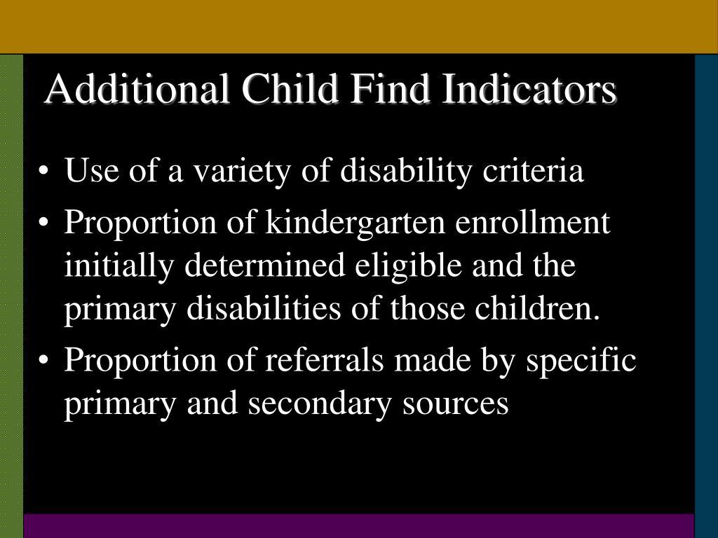 Additional Child Find Indicators