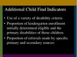 additional child find indicators