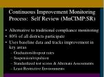 continuous improvement monitoring process self review mncimp sr