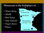 minnesota is the birthplace of