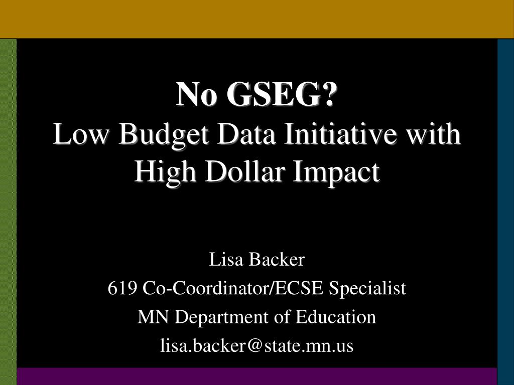 no gseg low budget data initiative with high dollar impact l.