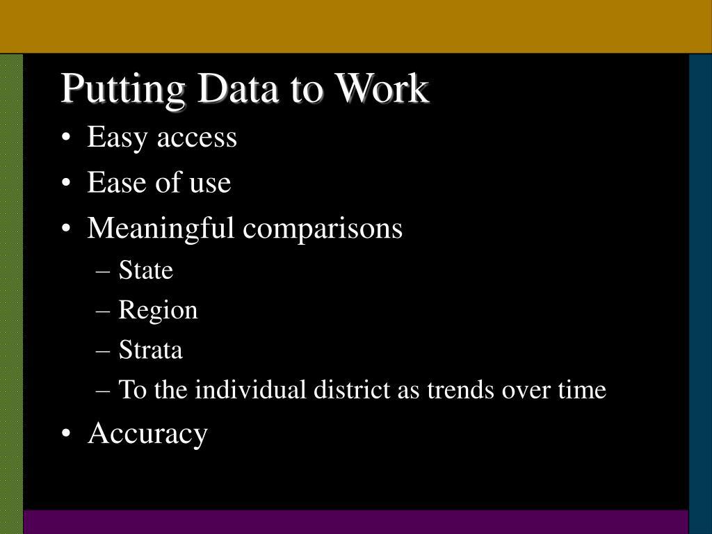 Putting Data to Work