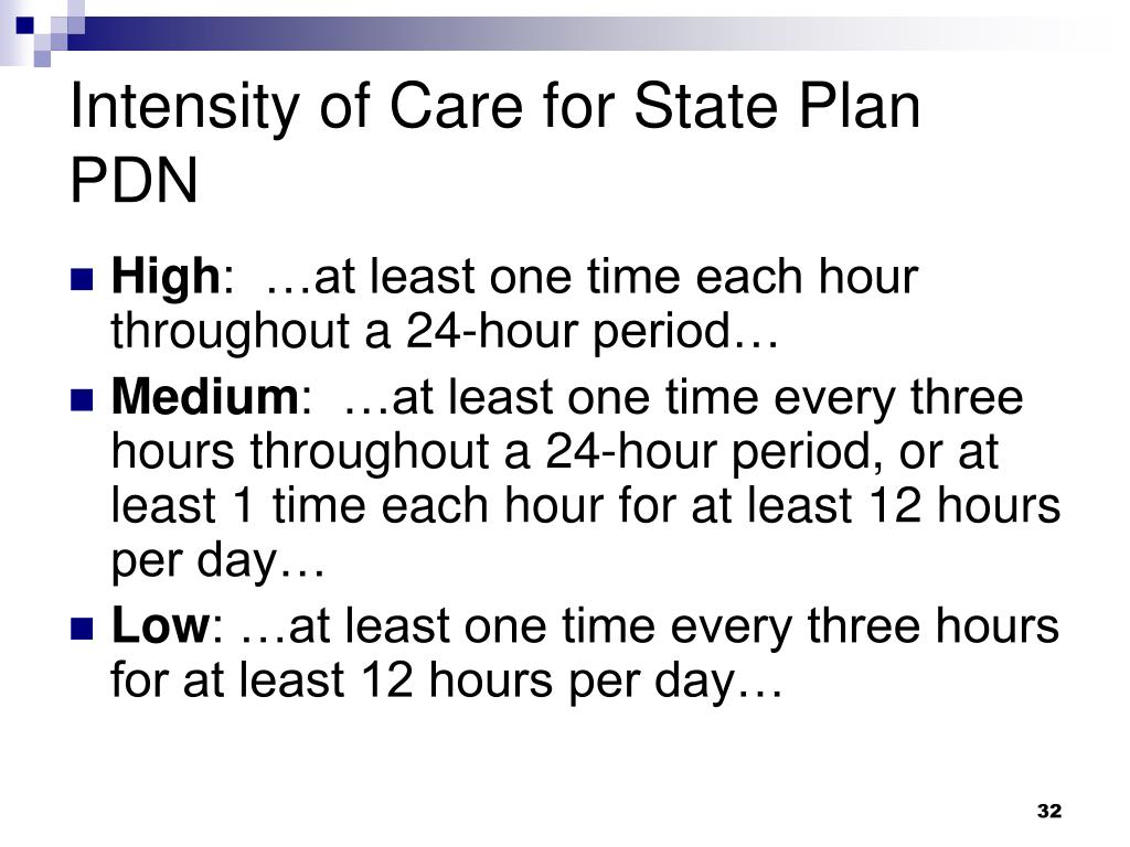 Intensity of Care for State Plan PDN