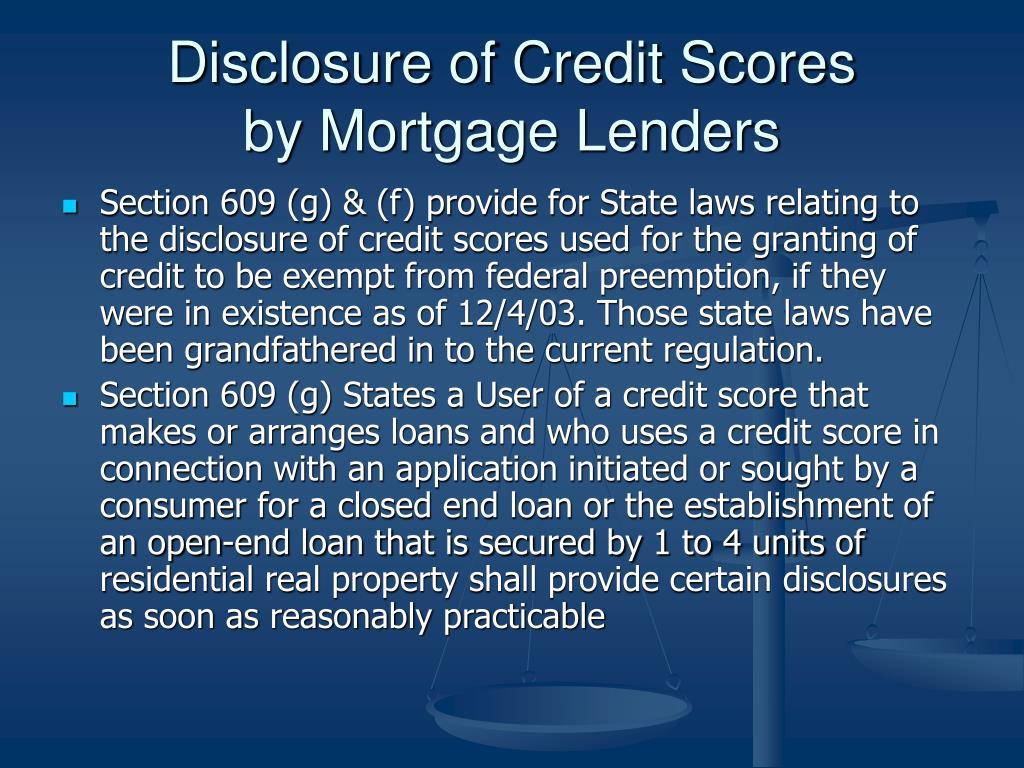 Disclosure of Credit Scores