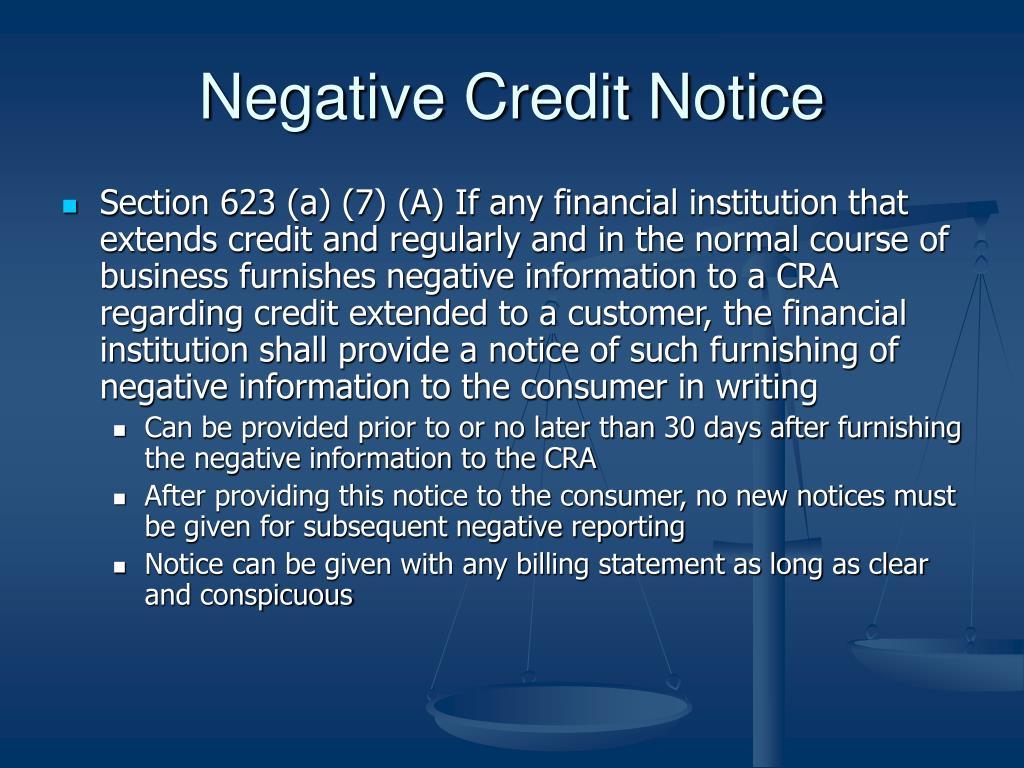 Negative Credit Notice