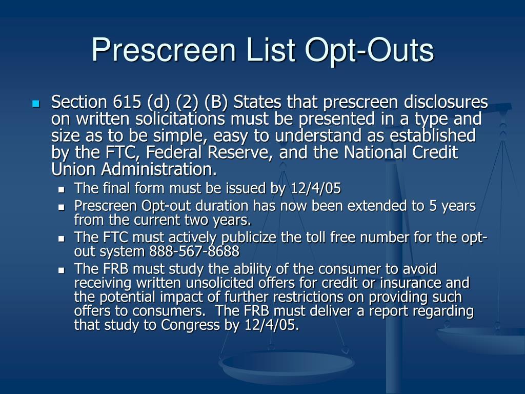 Prescreen List Opt-Outs