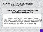 project 2 1 feminism essay
