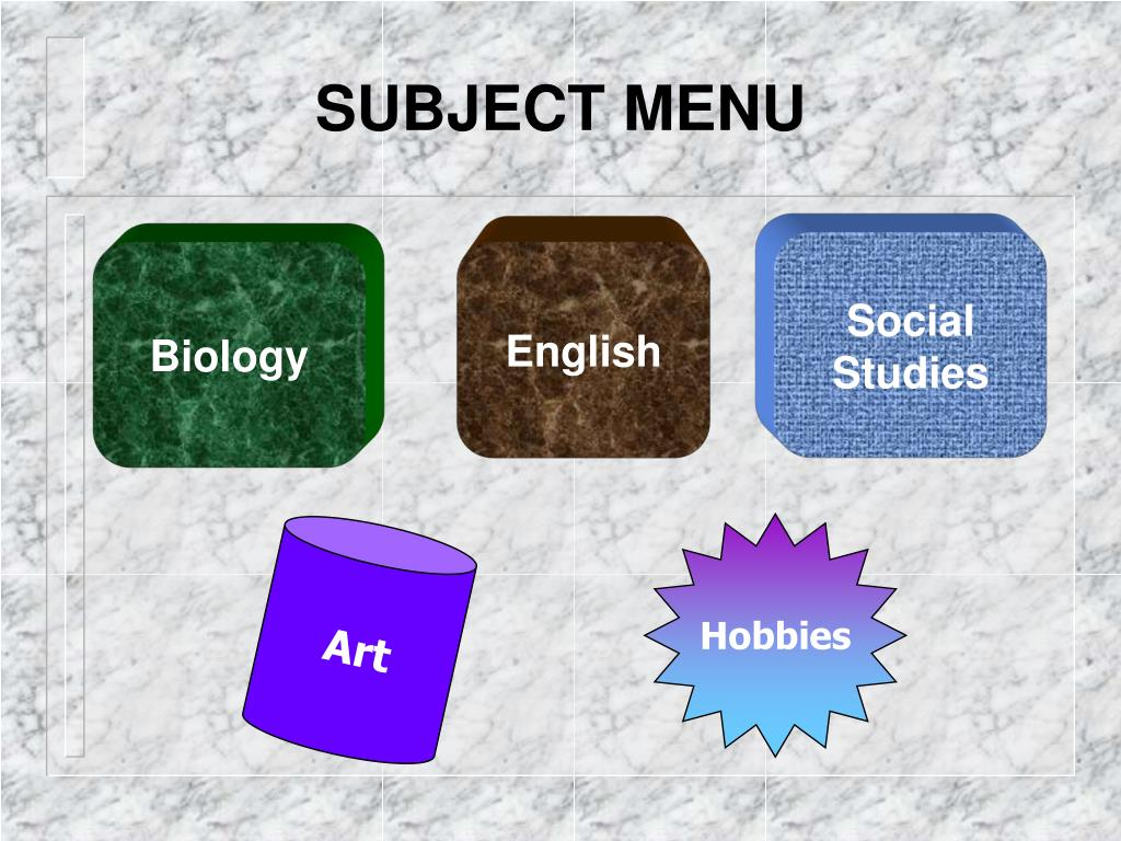 SUBJECT MENU