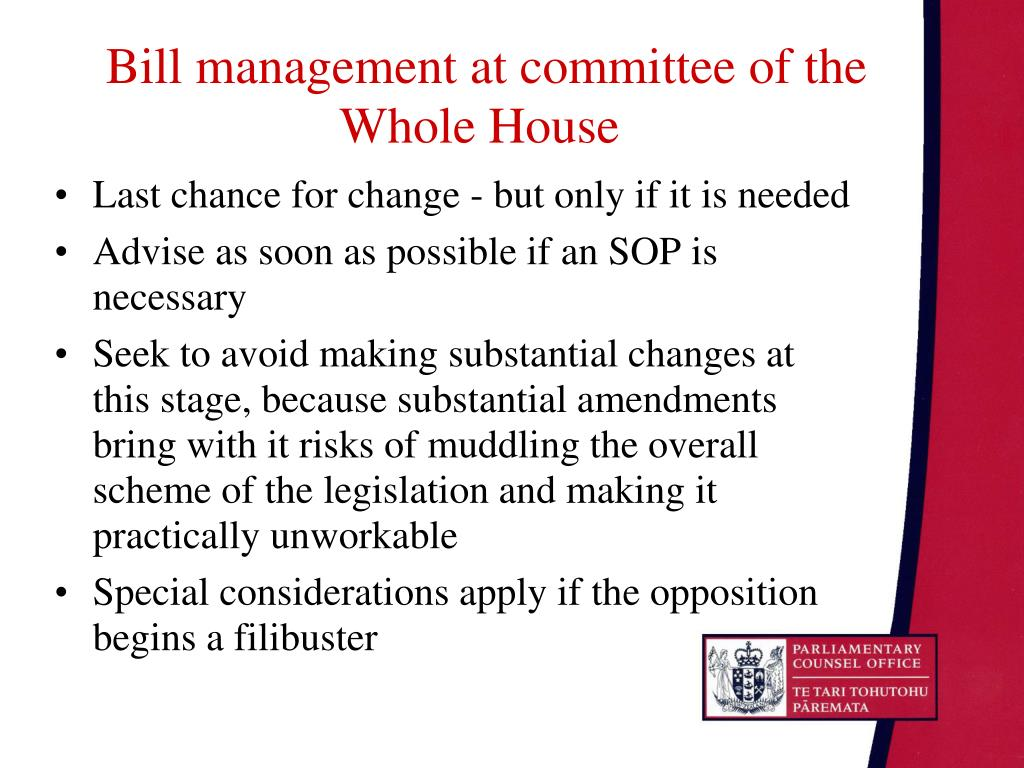 Bill management at committee of the Whole House