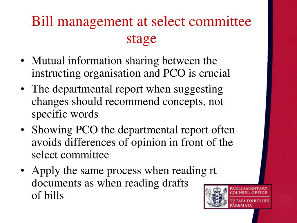 Bill management at select committee stage