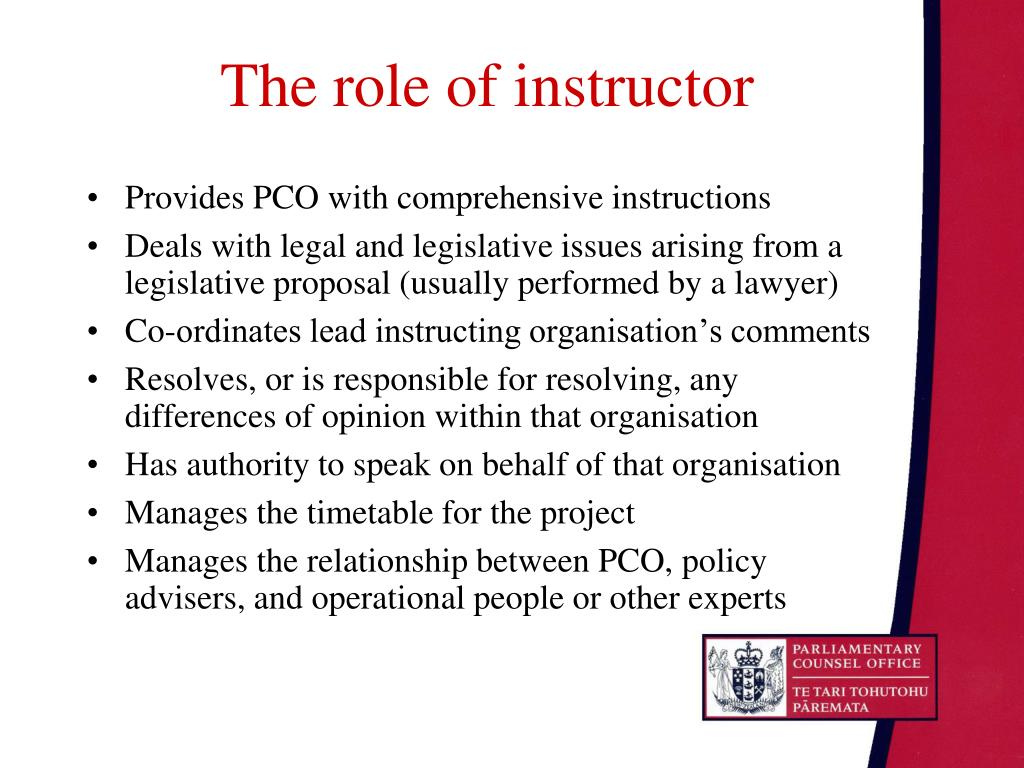 The role of instructor