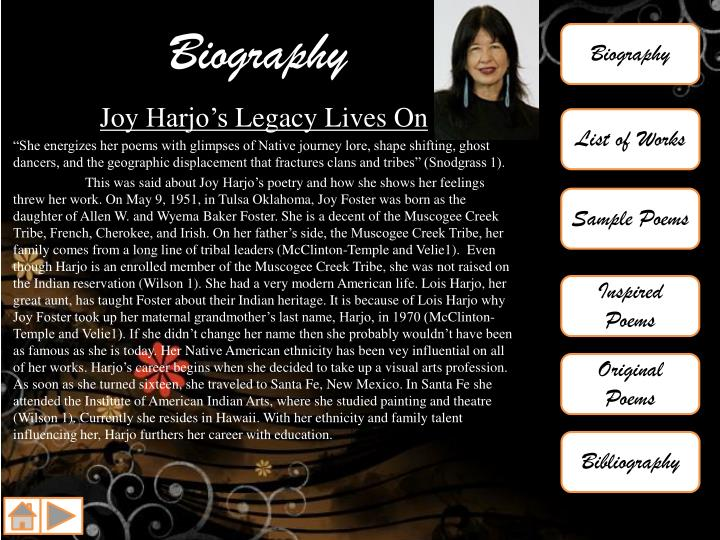 remember joy harjo essay Joy harjo poems, quotes, articles, biography, and more joy harjo (born may 9, 1951) is a native american poet, musician, and author she is often cited as playing a formidable role in the second wave of what critic kenneth lincoln has coined the native american renaissance.