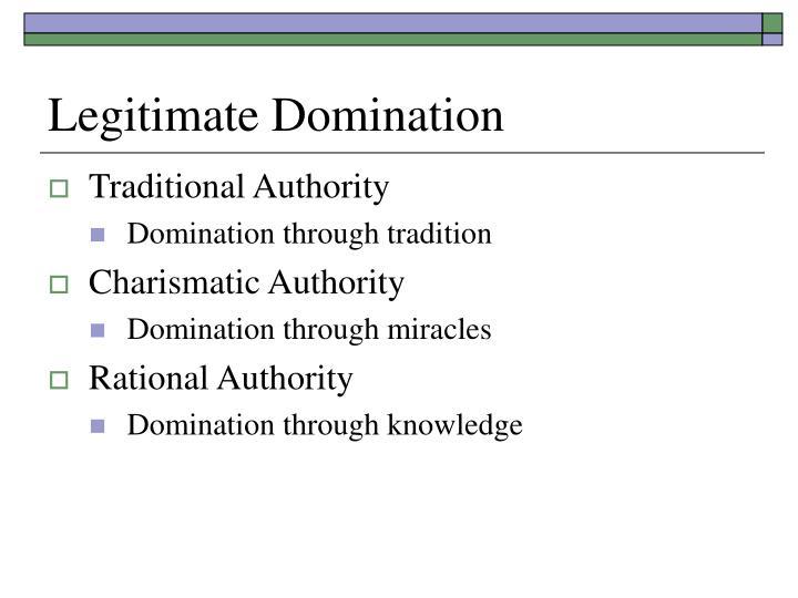 The types of legitimate domination