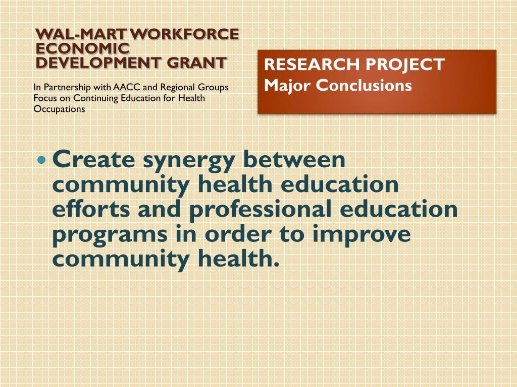 WAL-MART WORKFORCE ECONOMIC DEVELOPMENT GRANT