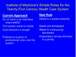 institute of medicine s simple rules for the twenty first century health care system