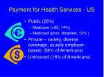 payment for health services us