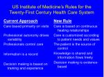 us institute of medicine s rules for the twenty first century health care system