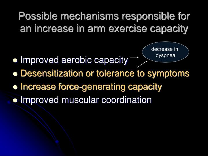 Possible mechanisms responsible for an increase in arm exercise capacity