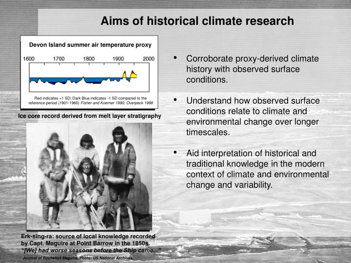 Aims of historical climate research