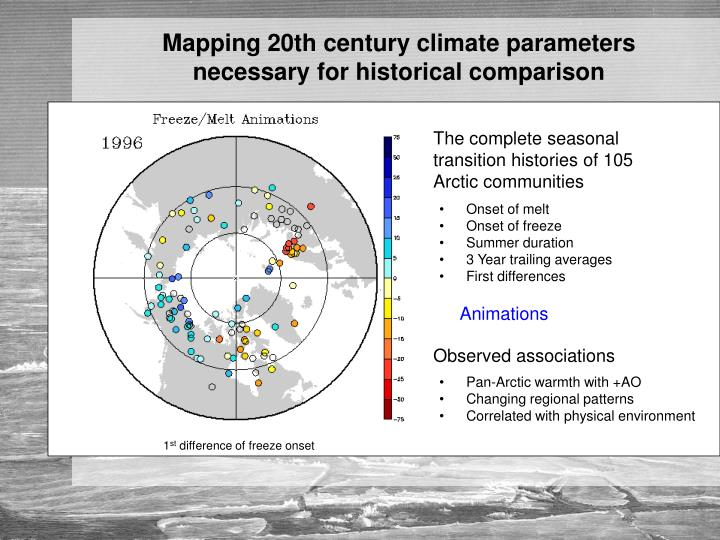 Mapping 20th century climate parameters necessary for historical comparison