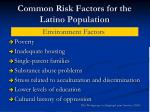 common risk factors for the latino population