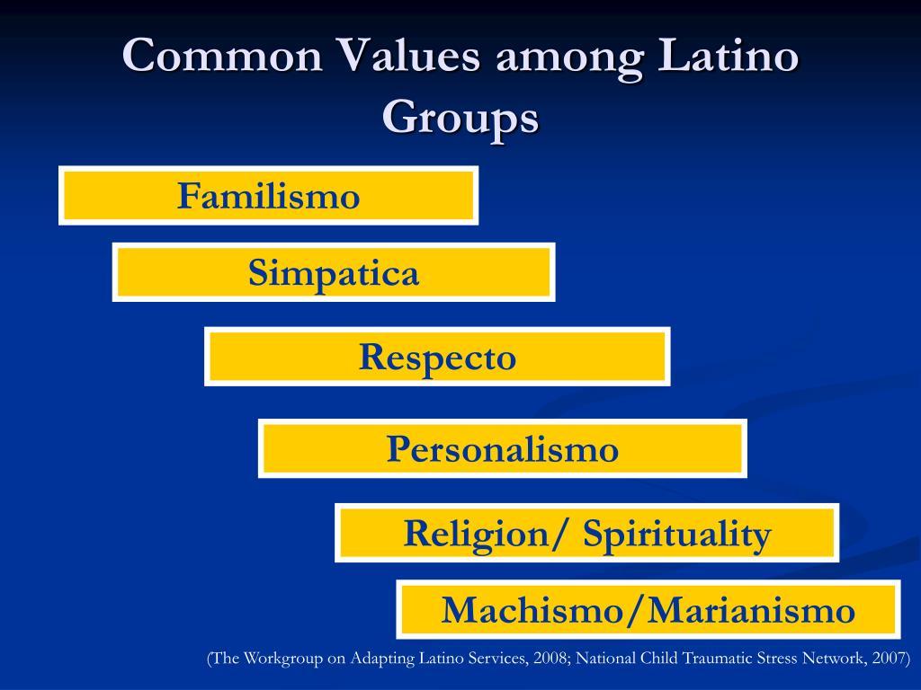 Common Values among Latino Groups