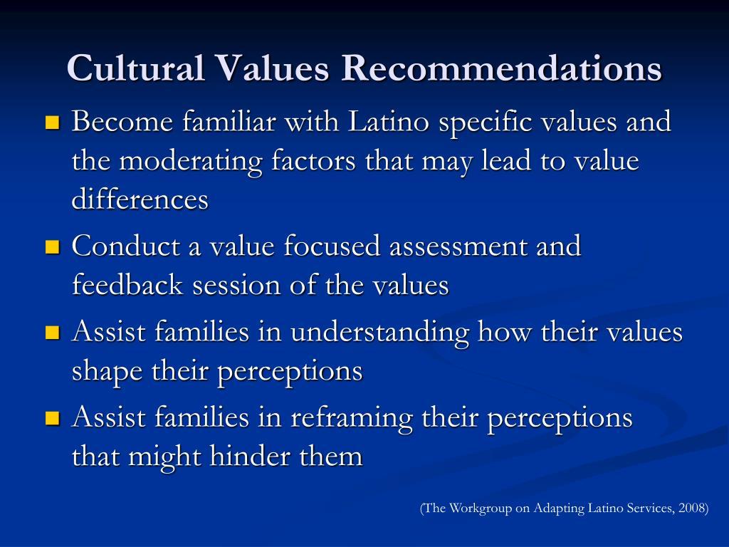 Cultural Values Recommendations