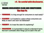 4 be careful with disclosures
