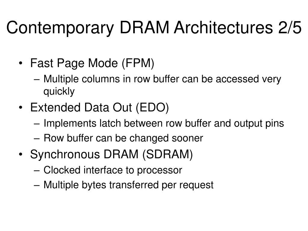 Contemporary DRAM Architectures 2/5