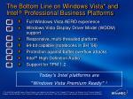 the bottom line on windows vista and intel professional business platforms