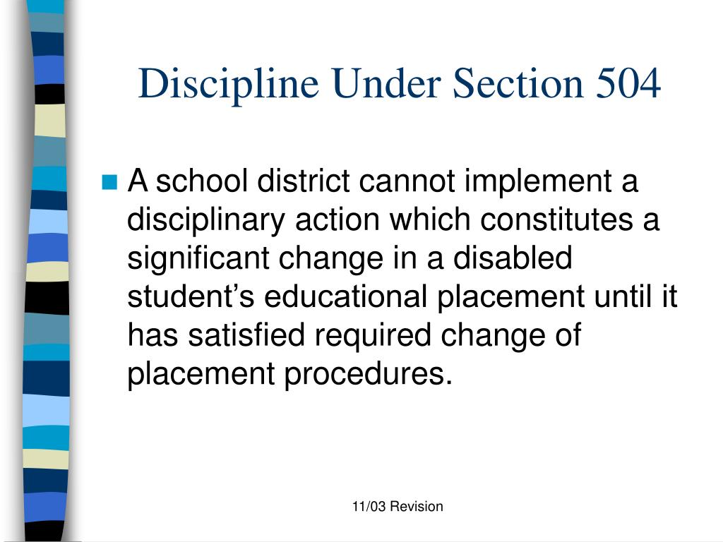 Discipline Under Section 504