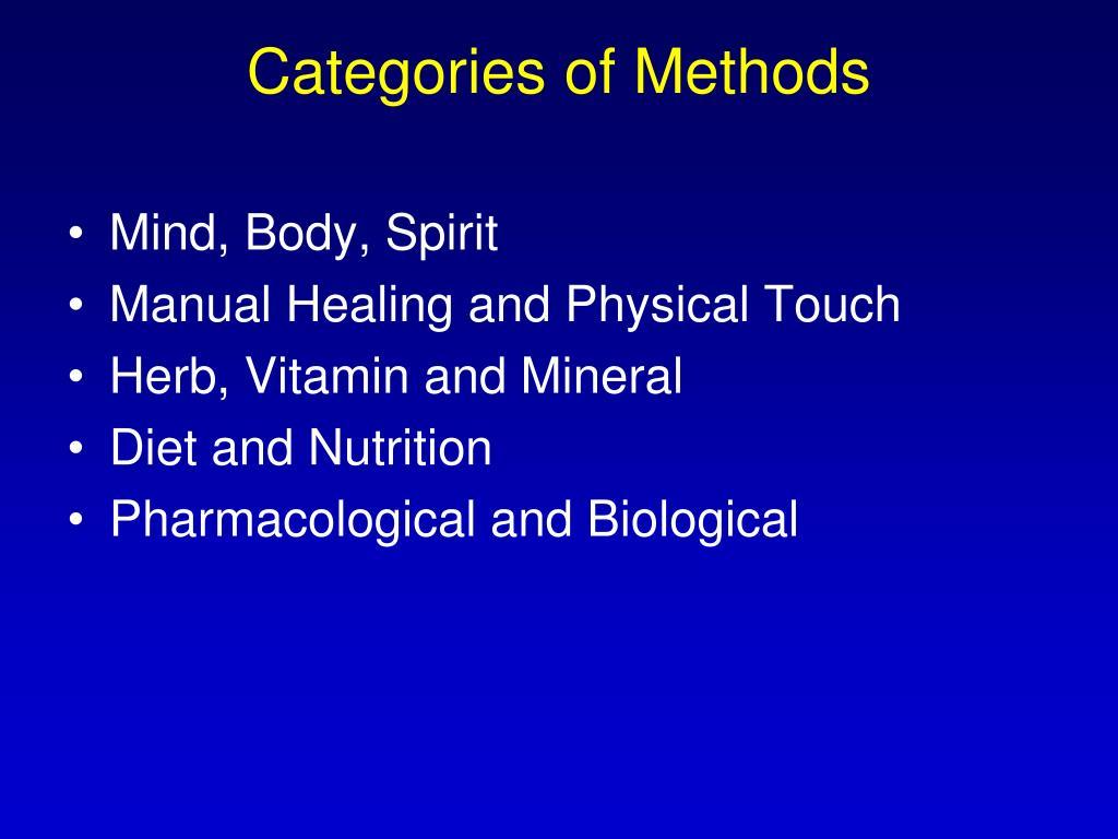 Categories of Methods