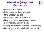 alternative integrative perspective