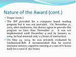 nature of the award cont34