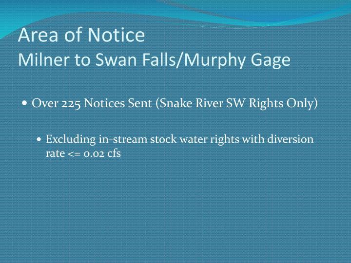 Area of notice milner to swan falls murphy gage