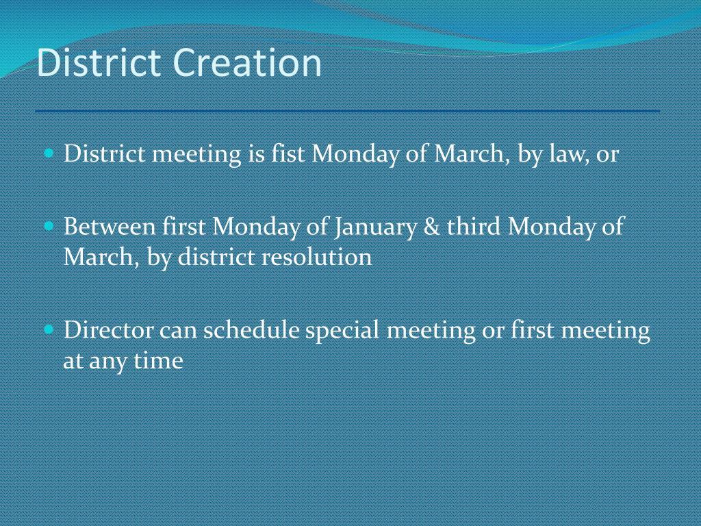 District Creation