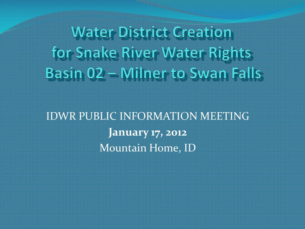 Water District Creation