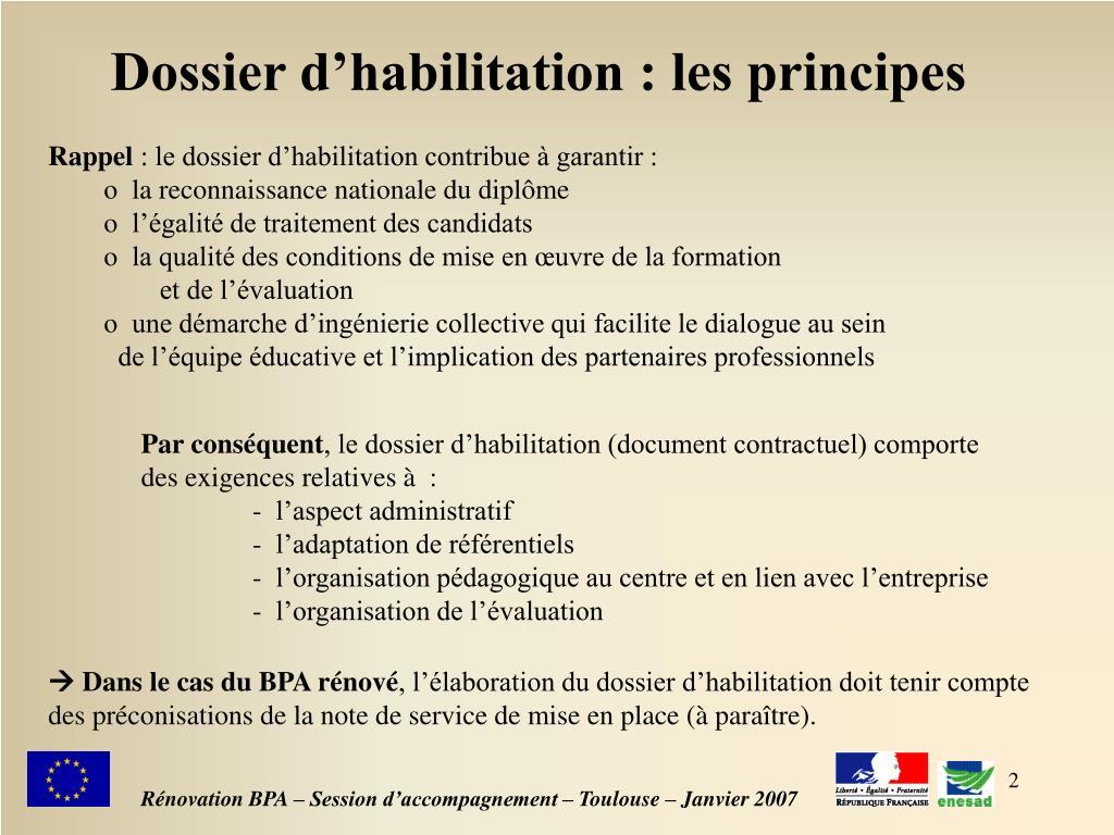 Dossier d'habilitation : les principes