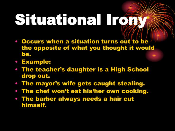 situational irony in the lottery Of the lottery definition of irony irony: a literary name referring to how a person, situation, statement, or circumstance is not as it would actually seem the three most common types of irony are verbal irony, dramatic irony, and cosmic irony.